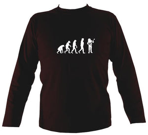 Evolution of Banjo Players Mens Long Sleeve Shirt - Long Sleeved Shirt - Dark chocolate - Mudchutney