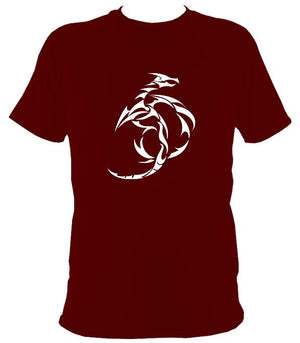 Tribal Dragon T-shirt - T-shirt - Maroon - Mudchutney