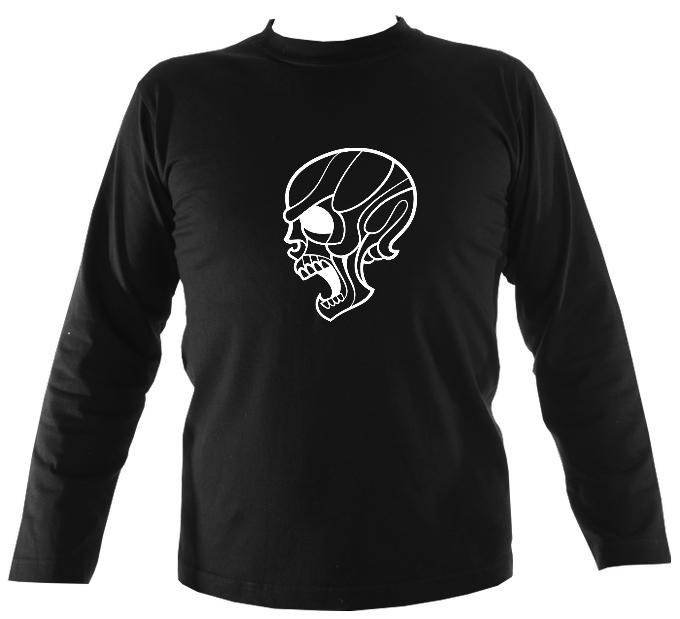 Angry Skull Mens Long Sleeve Shirt