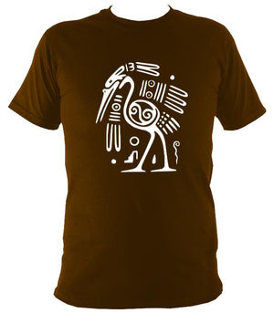Egyptian or Tribal Style Bird - T-shirt - Dark Chocolate - Mudchutney