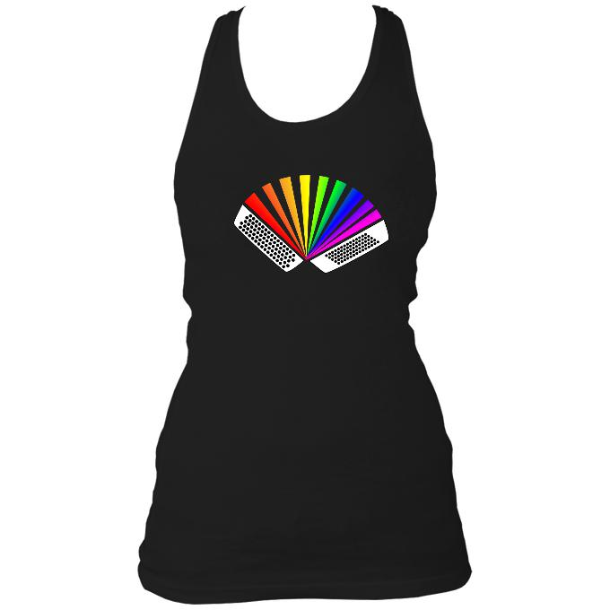 Rainbow Chromatic Button Accordion Ladies Racerback Vest