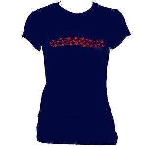 update alt-text with template Hearts Musical Stave Ladies Fitted T-shirt - T-shirt - Navy - Mudchutney