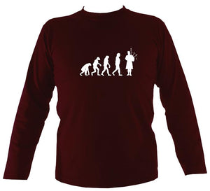 Evolution of Bagpipe Players Mens Long Sleeve Shirt - Long Sleeved Shirt - Maroon - Mudchutney