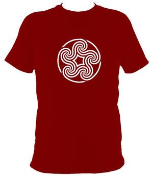 Swirling Celtic Five Spiral T-shirt - T-shirt - Cardinal Red - Mudchutney
