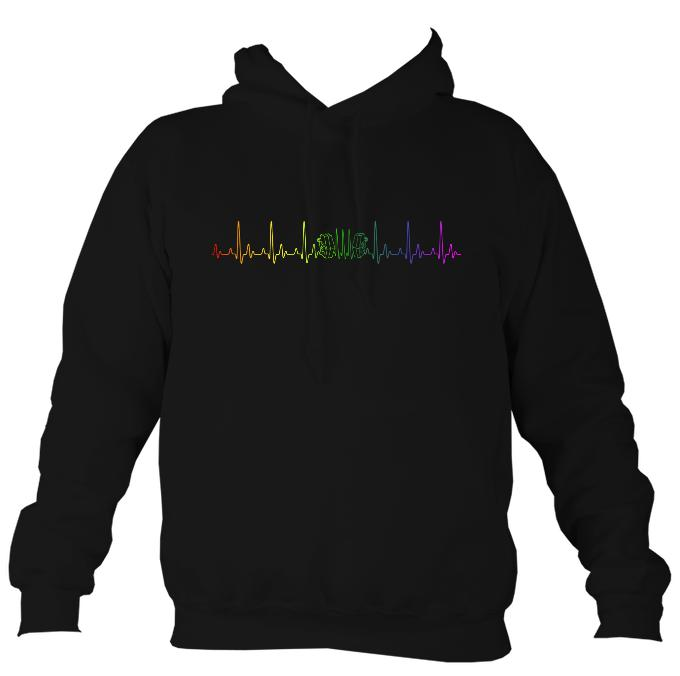 Heartbeat Concertina in Rainbow Colours Hoodie-Hoodie-Mudchutney