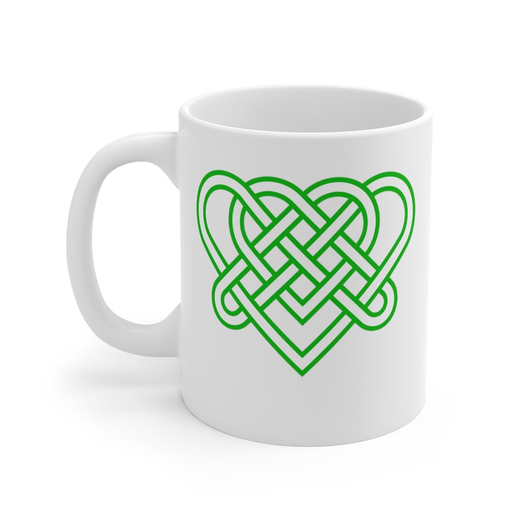 Celtic Heart Mug | Green Woven Celtic Heart Knot Ceramic Mug | Celtic Gifts
