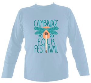 Cambridge Folk Festival - Design 1 - Mens Long Sleeve Shirt - Long Sleeved Shirt - Light blue - Mudchutney
