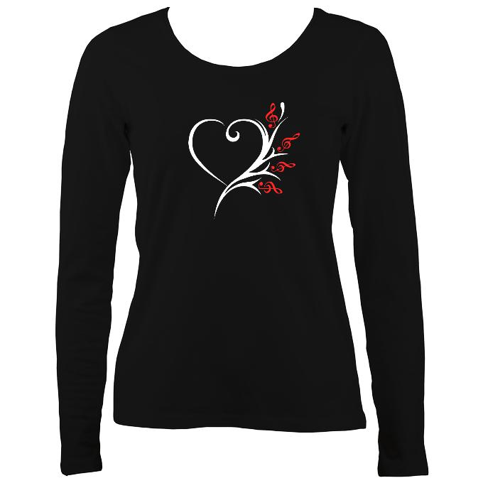 Musical Heart Flower Ladies Long Sleeve Shirt - Long Sleeved Shirt - Black - Mudchutney