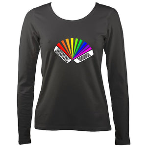 Rainbow Chromatic Accordion Ladies Long Sleeve Shirt - Long Sleeved Shirt - Charcoal - Mudchutney