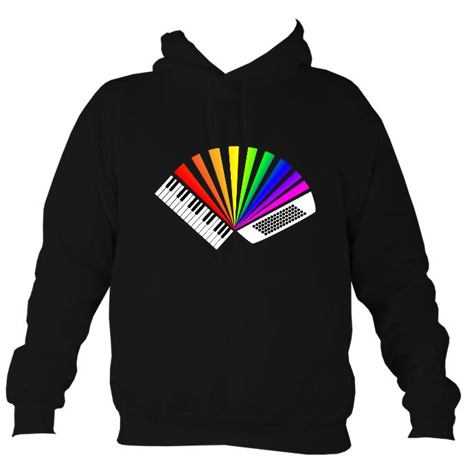 Rainbow Piano Accordion Hoodie-Hoodie-Jet black-Mudchutney