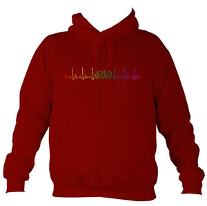 Heartbeat Concertina in Rainbow Colours Hoodie-Hoodie-Red hot chilli-Mudchutney