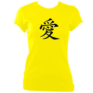 "update alt-text with template Japanese ""Love"" Symbol Ladies Fitted T-shirt - T-shirt - Daisy - Mudchutney"