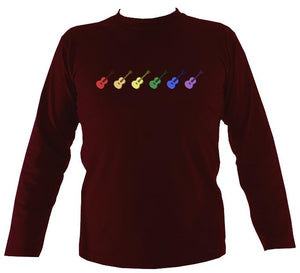 Rainbow of Guitars Mens Long Sleeve Shirt - Long Sleeved Shirt - Maroon - Mudchutney
