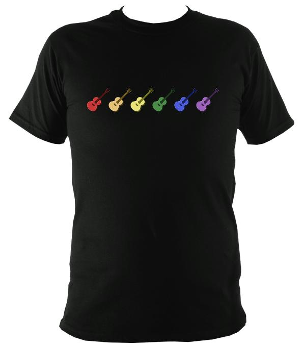 Rainbow of Coloured Guitars T-Shirt - T-shirt - Black - Mudchutney