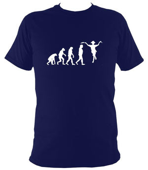 Evolution of Morris Dancers T-shirt - T-shirt - Navy - Mudchutney