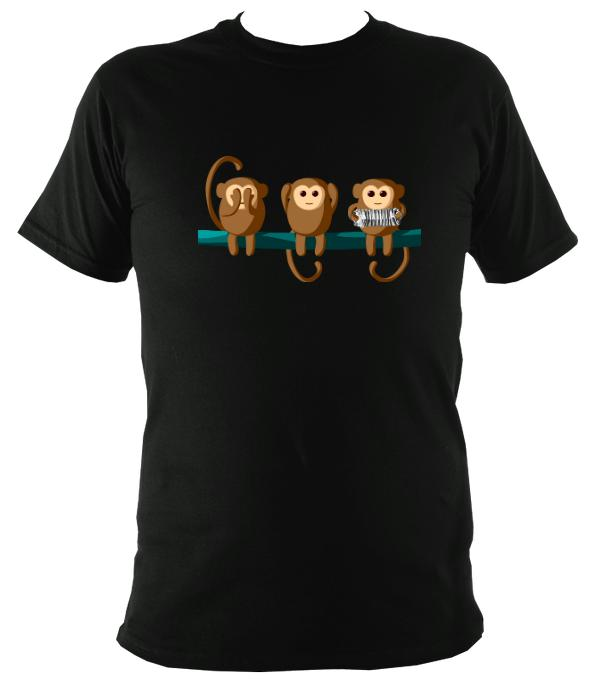 """Play No Concertina"" Monkeys T-shirt - T-shirt - Black - Mudchutney"