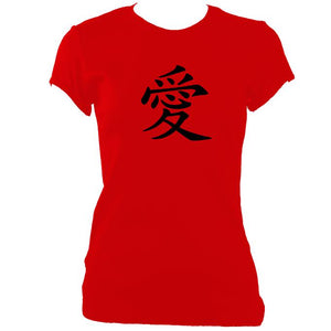 "update alt-text with template Japanese ""Love"" Symbol Ladies Fitted T-shirt - T-shirt - Red - Mudchutney"