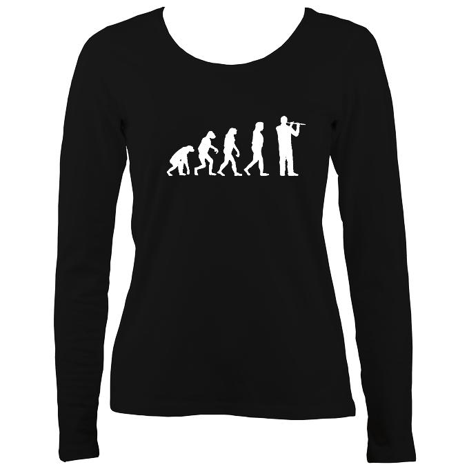Evolution of Flute Players Ladies Long Sleeve Shirt - Long Sleeved Shirt - Black - Mudchutney