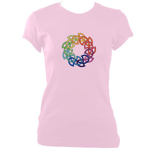 update alt-text with template Rainbow Celtic Knot Ladies Fitted T-shirt - T-shirt - Light Pink - Mudchutney
