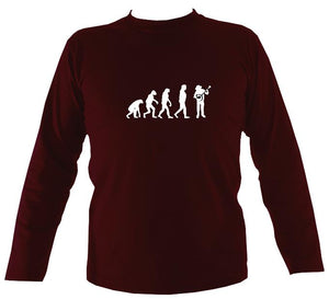 Evolution of Banjo Players Mens Long Sleeve Shirt - Long Sleeved Shirt - Maroon - Mudchutney