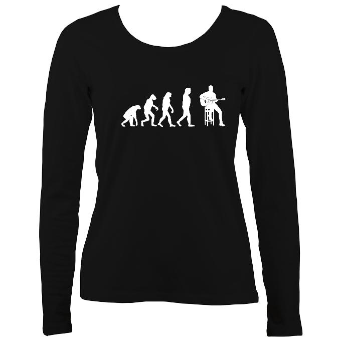 Evolution of Guitar Players Ladies Long Sleeve Shirt - Long Sleeved Shirt - Red - Mudchutney