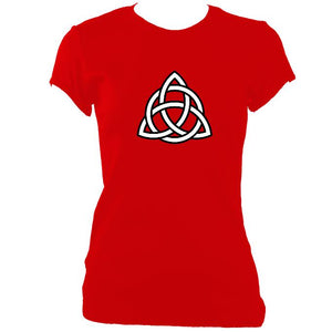 update alt-text with template Celtic Triangular Knot Ladies Fitted T-shirt - T-shirt - Red - Mudchutney