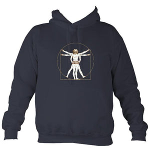 Da Vinci Vitruvian Man Playing Concertina Hoodie-Hoodie-Denim-Mudchutney
