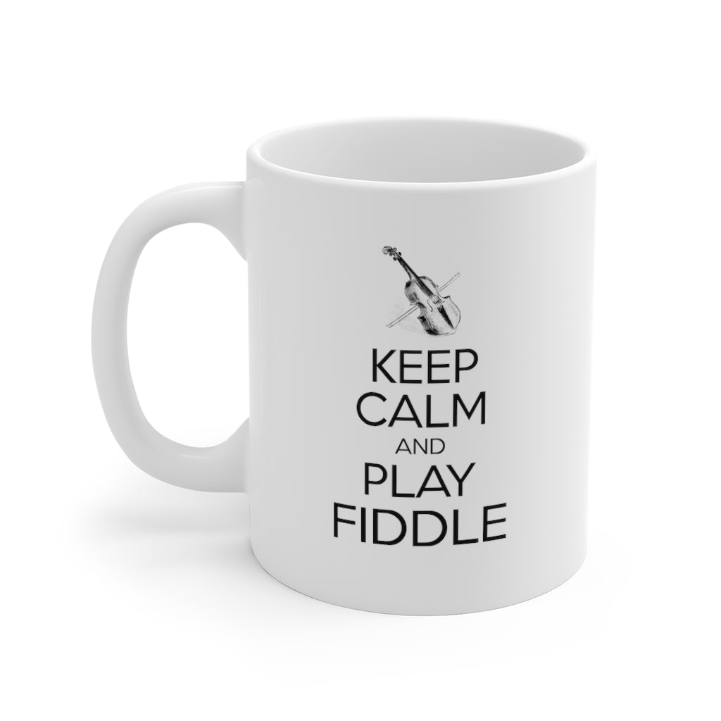 Keep Calm Fiddle | Keep Calm & Play Fiddle Mug | Folk Music Mug | Violin Gift