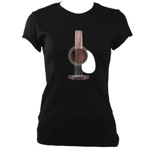 update alt-text with template Guitar Strings and Neck Ladies Fitted T-shirt - T-shirt - Black - Mudchutney