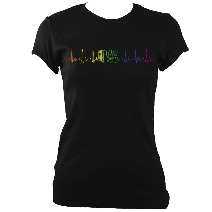 "update alt-text with template """"Heartbeat Rainbow Accordion Ladies Fitted T-shirt - T-shirt - White - Mudchutney"