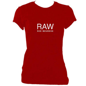 "update alt-text with template Reg Meuross ""Raw"" Ladies Fitted T-shirt - T-shirt - Antique Cherry Red - Mudchutney"