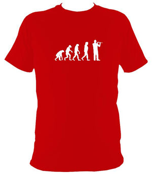 Evolution of Flute Players T-shirt - T-shirt - Red - Mudchutney