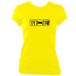 update alt-text with template Eat, Sleep, Play Melodeon Ladies Fitted T-shirt - T-shirt - Daisy - Mudchutney
