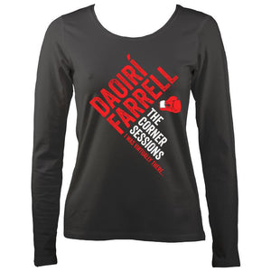 Daoiri Farrell Corner Session Boxing Glove Women's Long Sleeve Shirt - Long Sleeved Shirt - Charcoal - Mudchutney