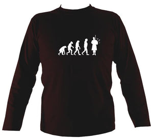 Evolution of Bagpipe Players Mens Long Sleeve Shirt - Long Sleeved Shirt - Dark chocolate - Mudchutney