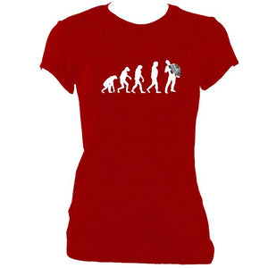 update alt-text with template Evolution of Accordion Players Ladies Fitted T-shirt - T-shirt - Antique Cherry Red - Mudchutney