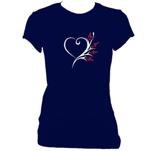update alt-text with template Musical Heart Flower Ladies Fitted T-shirt - T-shirt - Navy - Mudchutney