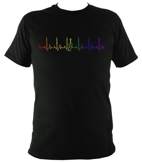 Rainbow Coloured Heartbeat Fiddle T-shirt - T-shirt - Black - Mudchutney