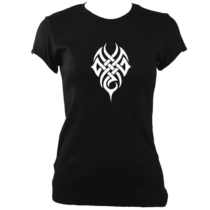 update alt-text with template Woven Tribal Tattoo Ladies Fitted T-shirt - T-shirt - White - Mudchutney