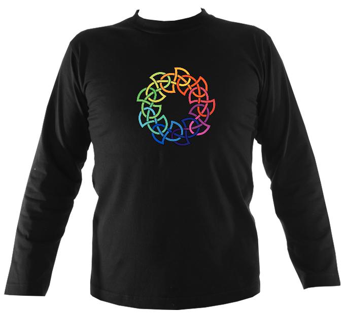 Rainbow Celtic Knot Mens Long Sleeve Shirt