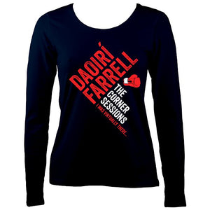 Daoiri Farrell Corner Session Boxing Glove Women's Long Sleeve Shirt - Long Sleeved Shirt - Navy - Mudchutney