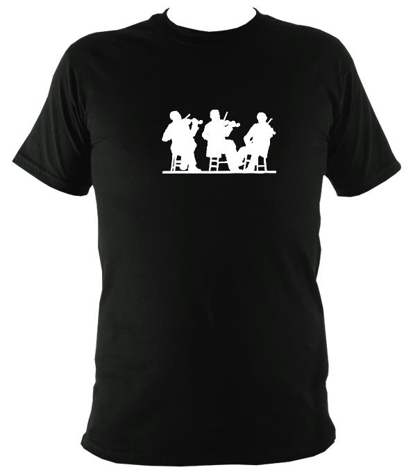 Three Fiddlers Silhouette T-shirt - T-shirt - Antique Cherry Red - Mudchutney