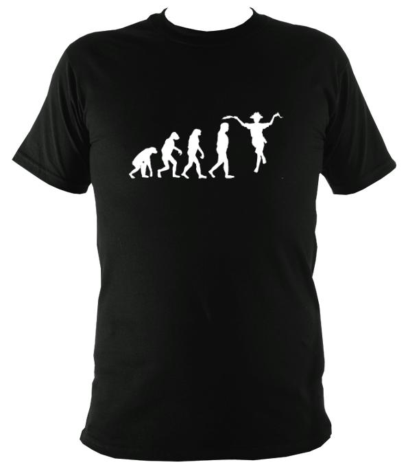 Evolution of Morris Dancers T-shirt - T-shirt - Black - Mudchutney