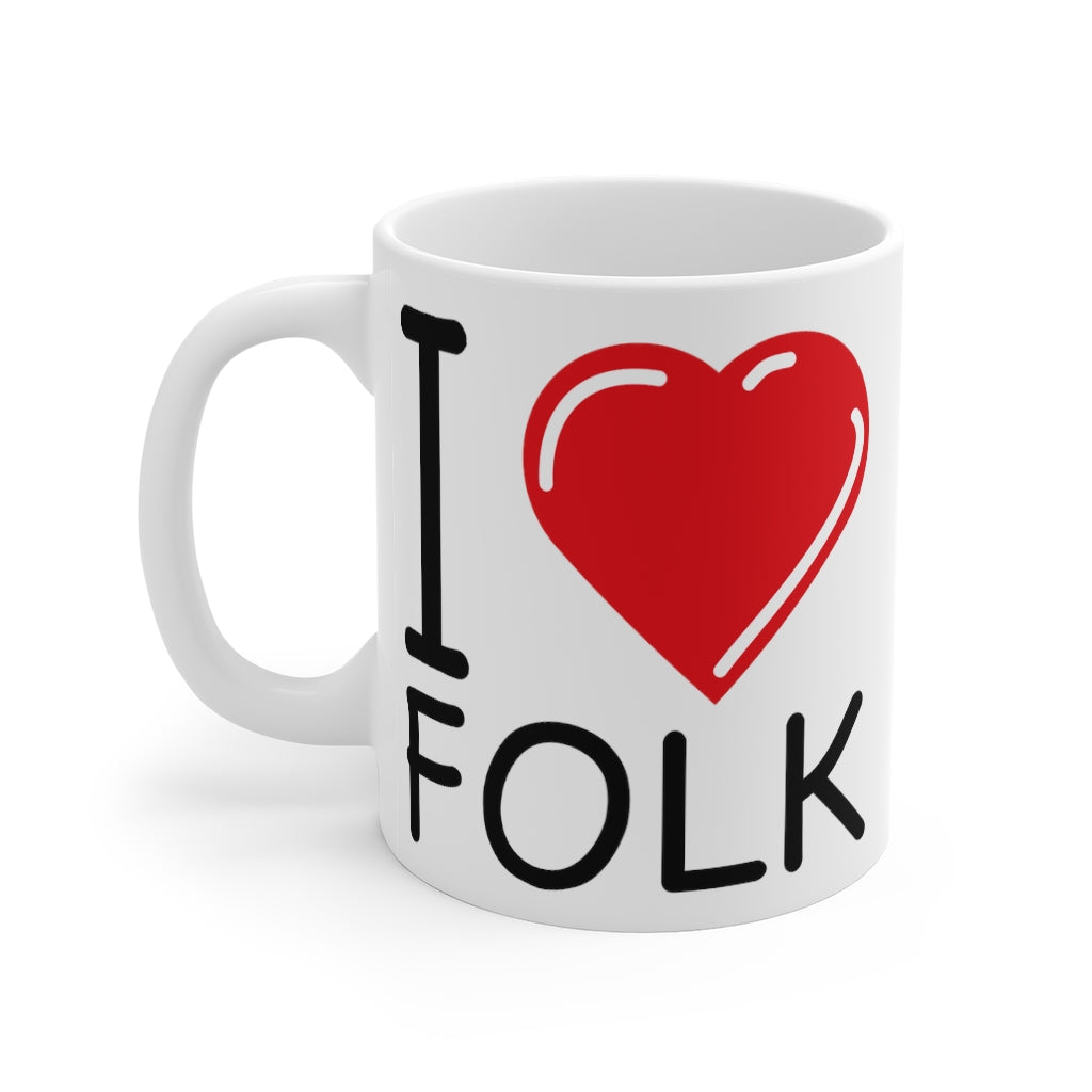 Love Folk Mug - | I Heart Folk - perfect ceramic mug for folk music lovers (11oz / 0.33l)