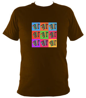 Warhol style Accordions T-shirt - T-shirt - Dark Chocolate - Mudchutney