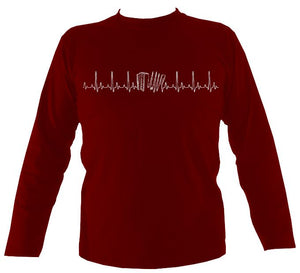 Heartbeat Melodeon Mens Long Sleeve Shirt - Long Sleeved Shirt - Cardinal red - Mudchutney