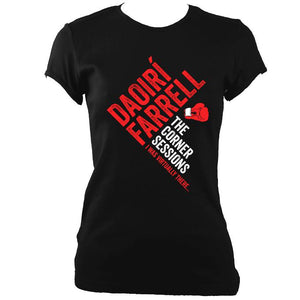 update alt-text with template Daoiri Farrell Corner Session Boxing Glove Women's Fitted T-shirt - T-shirt - Black - Mudchutney