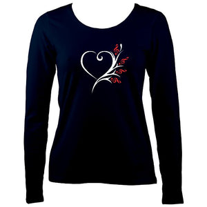 Musical Heart Flower Ladies Long Sleeve Shirt - Long Sleeved Shirt - Navy - Mudchutney