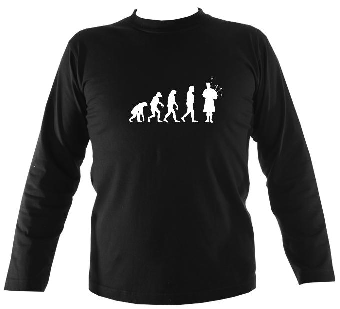 Evolution of Bagpipe Players Mens Long Sleeve Shirt - Long Sleeved Shirt - Black - Mudchutney