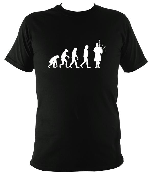 Evolution of Bagpipe Players T-shirt - T-shirt - Black - Mudchutney